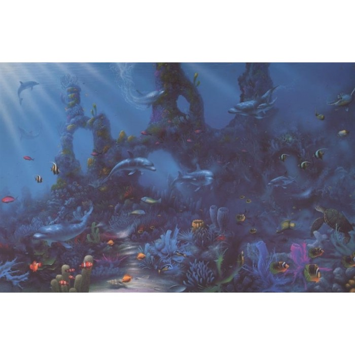 C824 dolphins paradise mural discount wallcovering for Dolphin paradise wall mural