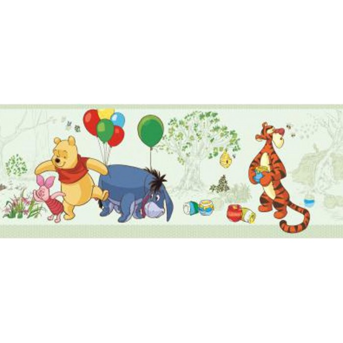 dk5840bd winnie the pooh friends border discount wallcovering. Black Bedroom Furniture Sets. Home Design Ideas