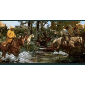 Cowboys On Horses Border
