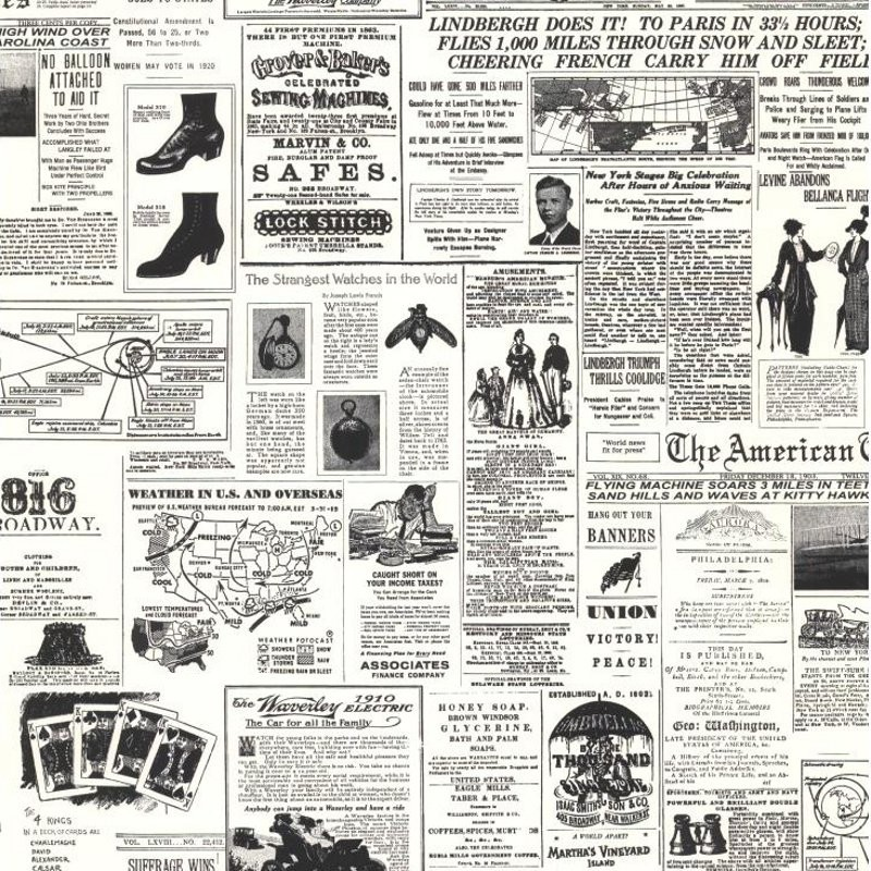 Discount Wallcovering-Vintage Newspaper Print Wallpaper-Daj134