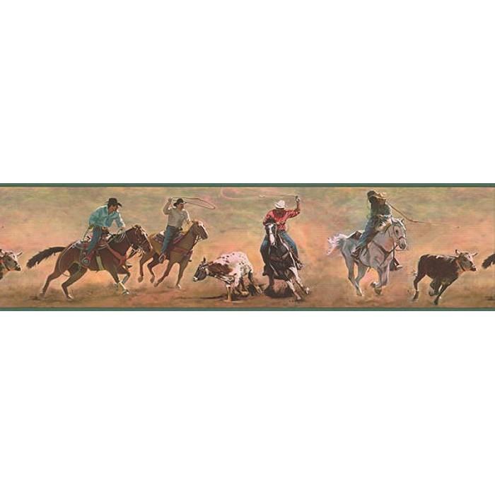 discount wallcovering cowboys roping border hms049