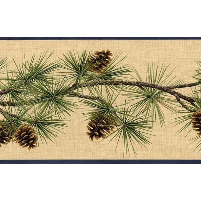 Hb112232b Pine Cones Border Discount Wallcovering