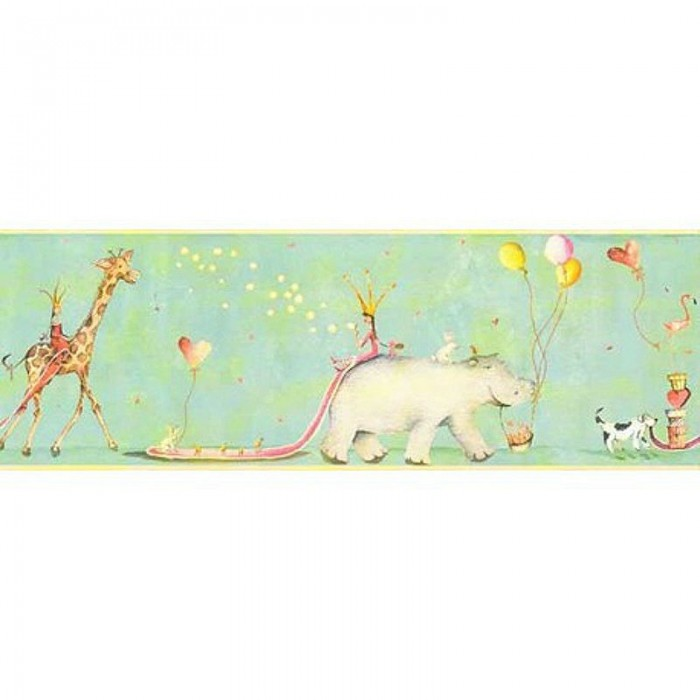 It7318bd animal parade border discount wallcovering for Cheap wallpaper border