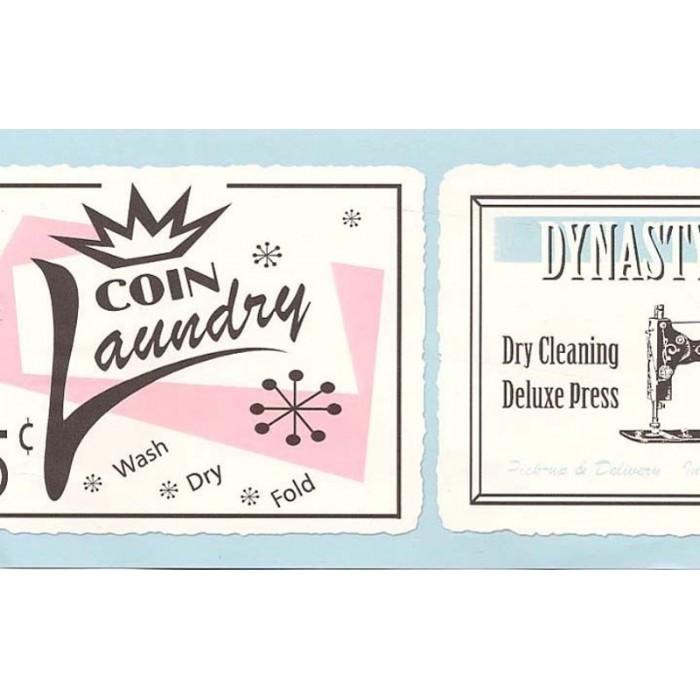 687721 retro laundry border discount wallcovering for Discount bathroom wallpaper