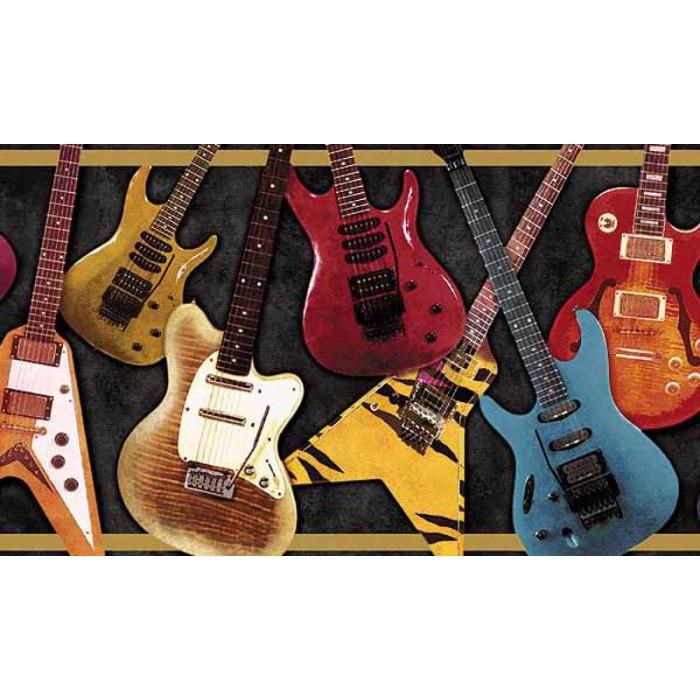Wk9052b guitars border discount wallcovering - Guitar border wallpaper ...
