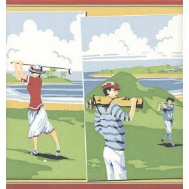 Vintage Golf Scenes Border