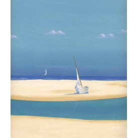 Sailboat on Sandbar Border