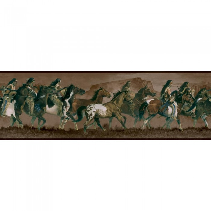 Wd4162b bareback riders border discount wallcovering for Cheap wall border