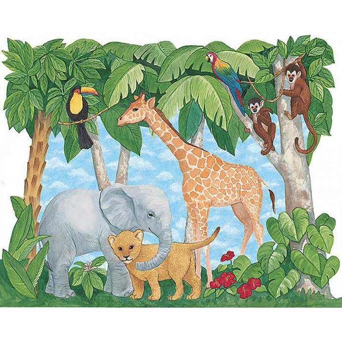 25972001 baby animals mural discount wallcovering for Baby jungle mural