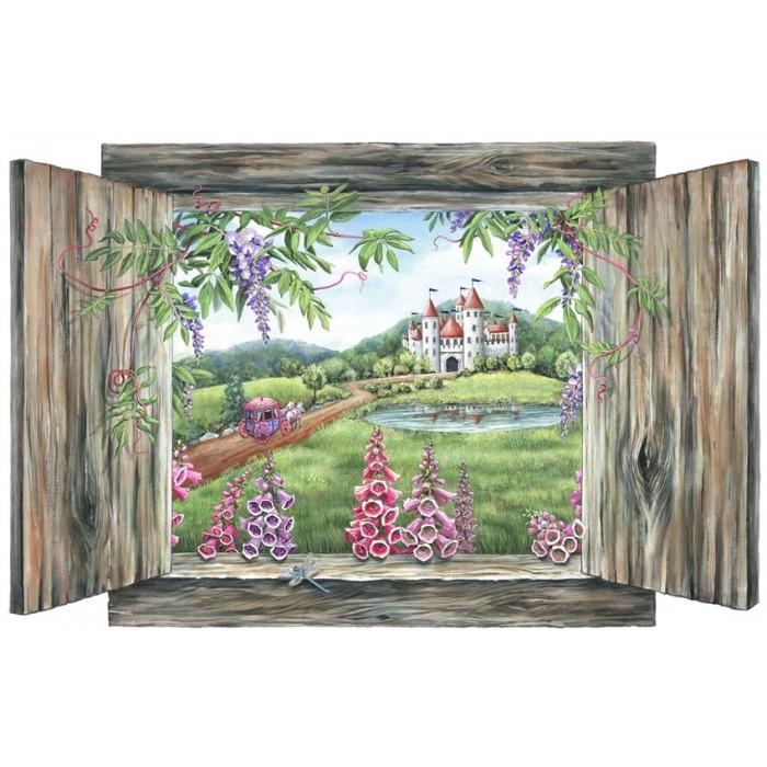 murals small the princess castle peel stick mural. Black Bedroom Furniture Sets. Home Design Ideas