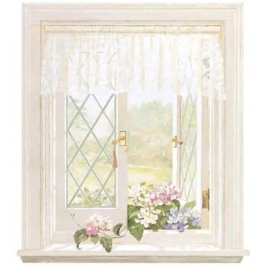 Hydrangea Window Mural