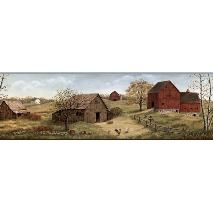 Ctr65391b farmstead border discount wallcovering for Cheap wall border