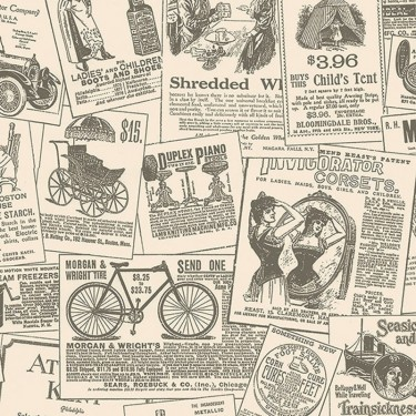 Kc28503 Vintage Newspaper Ads Wallpaper Discount Wallcovering