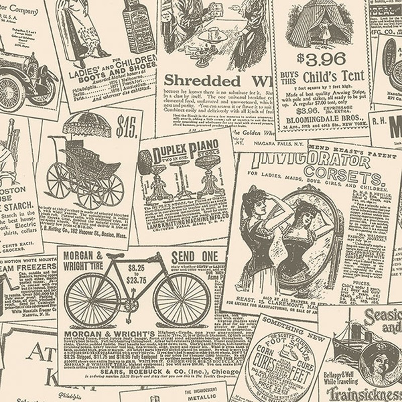 Discount Wallcovering-Vintage Newspaper Ads Wallpaper-Kln068