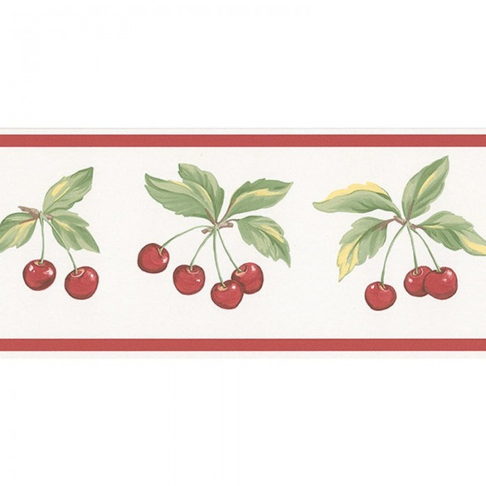 Fk78462 cherry sprigs border discount wallcovering for Cheap wall border