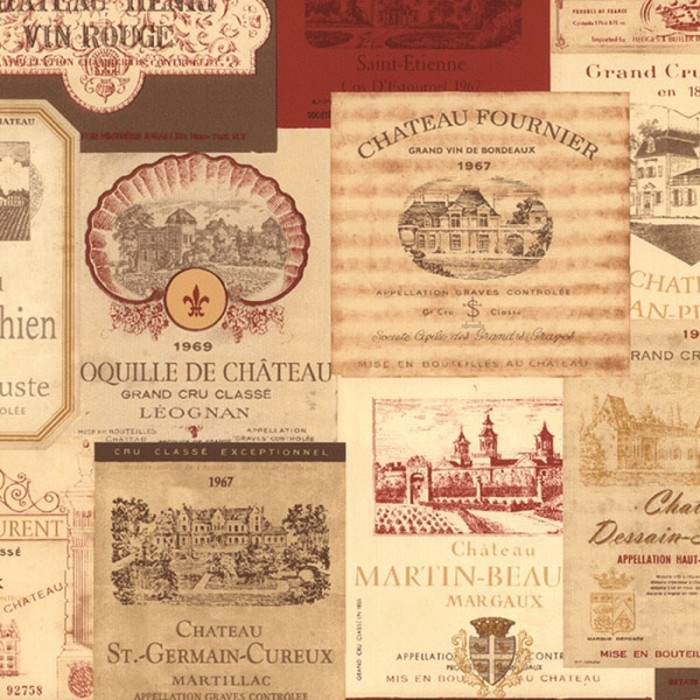 KK26755-Vintage French Wine Labels Wallpaper-Discount ...