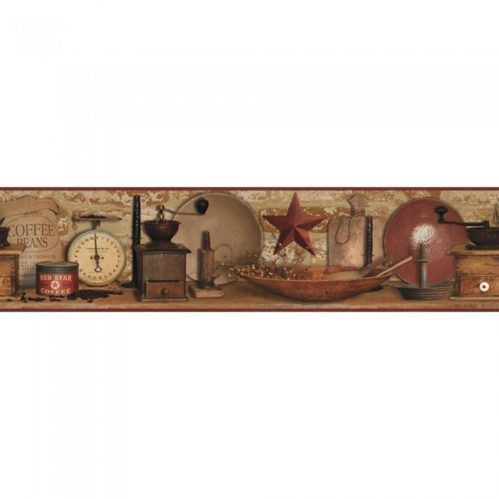 Ac4397bd country coffee border discount wallcovering for Cheap wallpaper border
