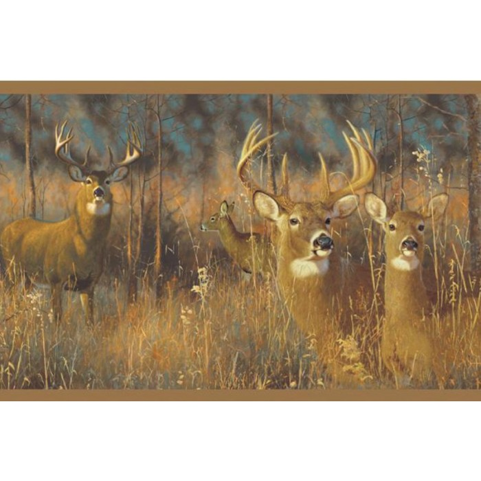 Wg0346bd White Tail Deer Border Discount Wallcovering