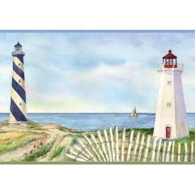 Eugene Light Blue Lighthouse Portrait Border