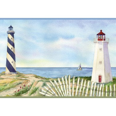 Eugene Light Blue Lighthouse Portrait Border