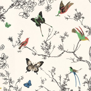Birds & Butterflies Wallpaper