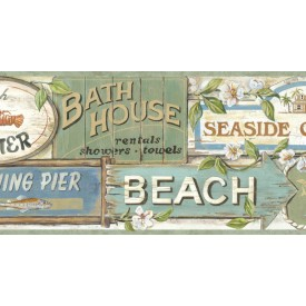 Seaside Beach Signs Border