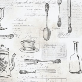 Kitchenware With Script Wallpaper