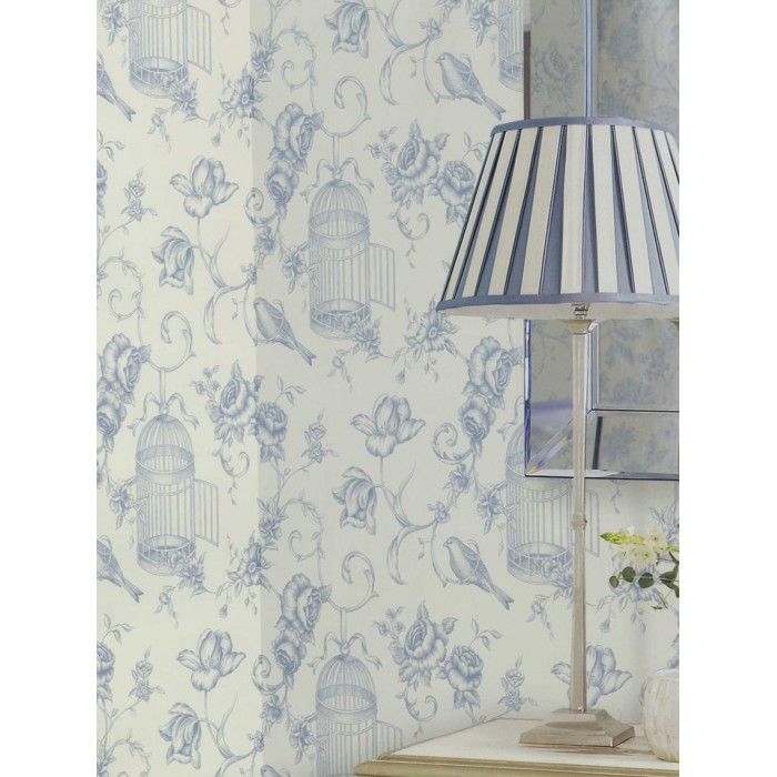 21 Best Toile Wall Paper Images On Pinterest: Birdcage Floral Toile Wallpaper