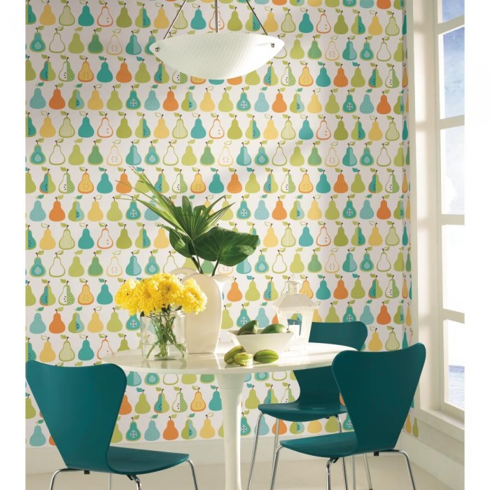 3 Colors Option For Country Kitchen Wallpaper: Kitchen Pears Wallpaper