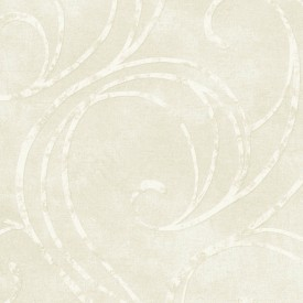 Creamy White Scroll Raised Print Wallpaper