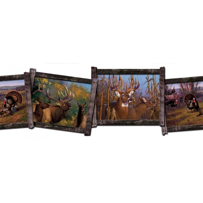 Fz4446bd Wildlife Sculptured Border Discount Wallcovering