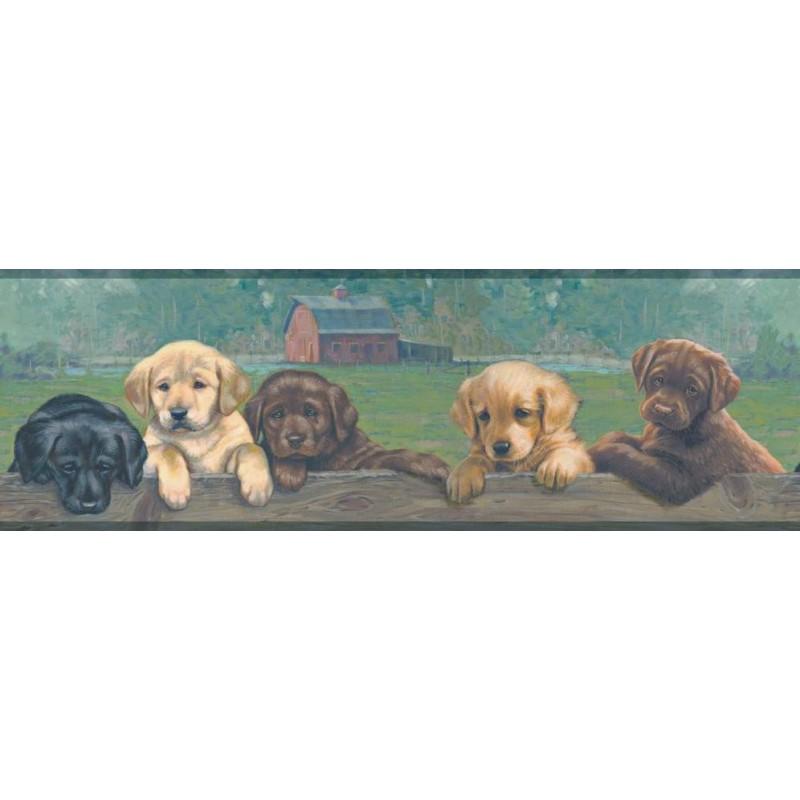 Lab Puppies Border WD4178B wallpaper Labrador dogs brown green prepasted