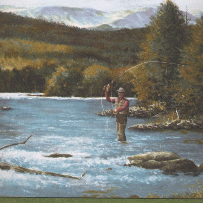 Gq153b Fly Fishing Border Discount Wallcovering
