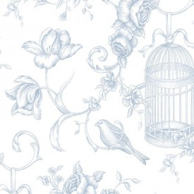 Birdcage Floral Toile Wallpaper