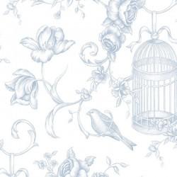 Birdcage Floral Toile Wallpaper