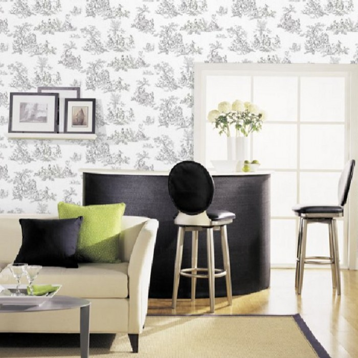 Ch28245 Pastoral Toile Wallpaper Discount Wallcovering
