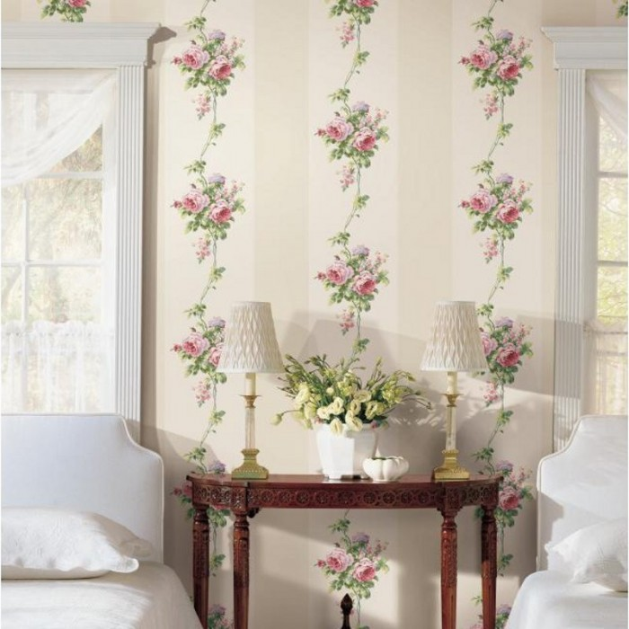 Ba4570 Rose Stripe Wallpaper Discount Wallcovering