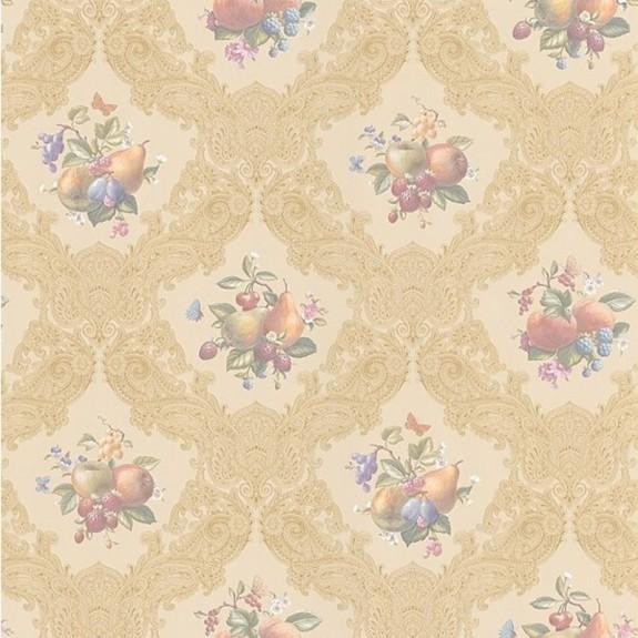 Satiny Fruit/Floral Wallpaper