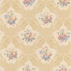 Satiny Fruit & Flower Wallpaper