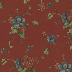 Satiny Ivy Floral Trail Wallpaper