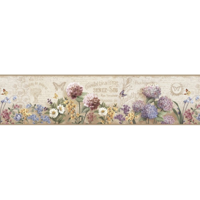 Pur44522b Springtime Border Discount Wallcovering