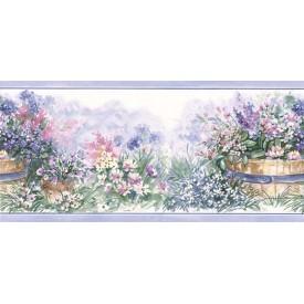 Flowers in Barrel Planters Border