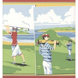 Vintage Golf Scenes Border