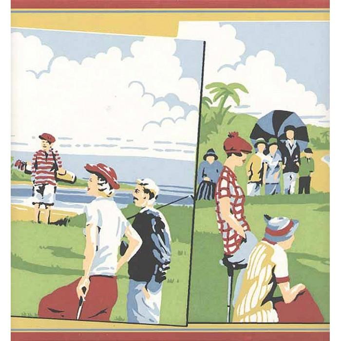 Hh8292b Vintage Golf Scenes Border Discount Wallcovering