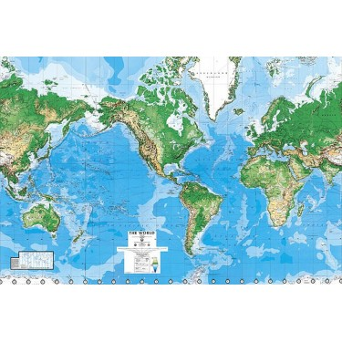 World Map Laminated, Dry Erasable Mural