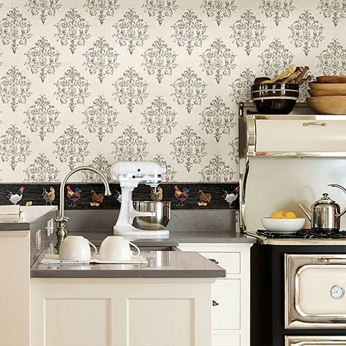 Ctr63111b Rooster Script Border Discount Wallcovering