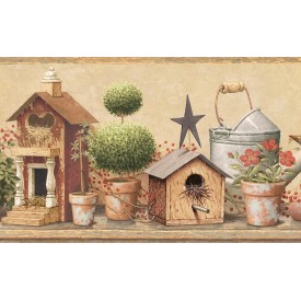 Bird Houses & Potted Plants Border