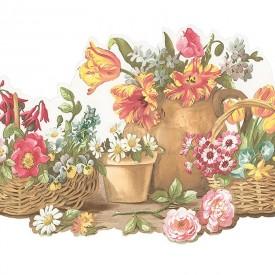 Floral Baskets & Flower Pots Die Cut Border