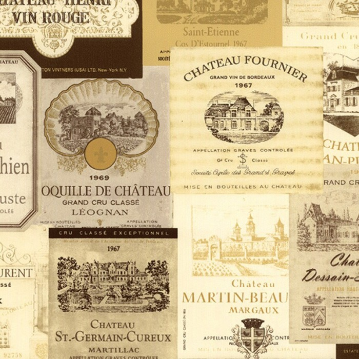 Kk26755 Vintage French Wine Labels Wallpaper Discount