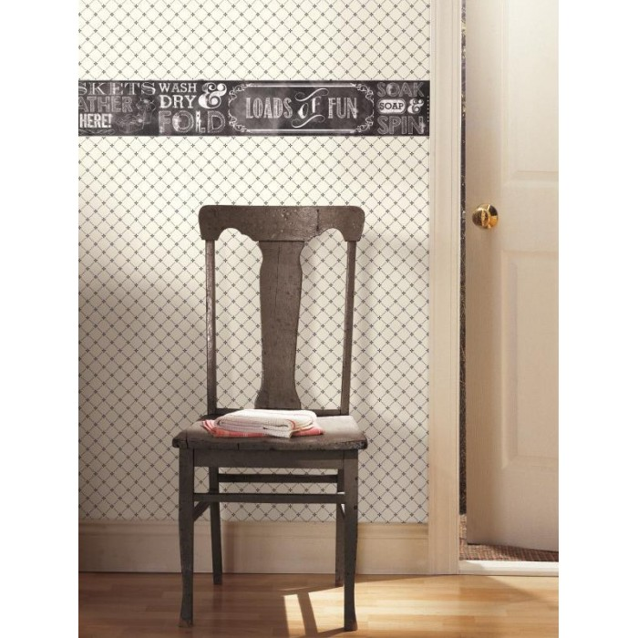 Ac4300bd Laundry Chalkboard Border Discount Wallcovering